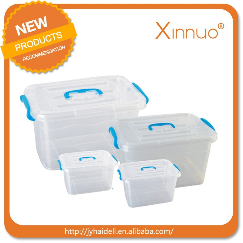 Clear Plastic Food Storage Box Containers With Multi Colour Lids