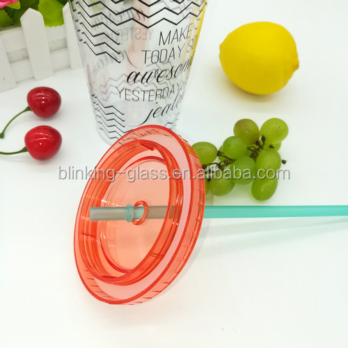 24oz double wall plastic cups with straw