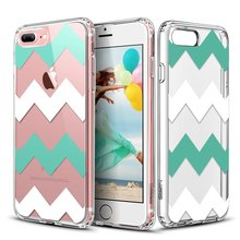 C&T Cell pone Case Mint Green Chevron Pattern Clear Hard Back Panel Cover Soft TPU Bumper Case for iPhone7 Plus