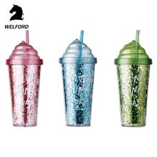 High Quality New product Reusable Plastic Cup With Straw,plastic juice water bottle