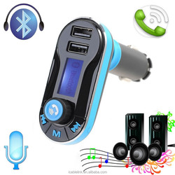 2016 Car Kit MP3 Player Wireless Bluetooth FM Radio Transmitter with 2 Ports USB charger for Car, blue