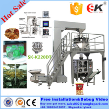 SK-520D Weighing packing Packaging machine for biscuits, crispy rice, peanut, melon seed, broad bean,potato chips,shrimp strip
