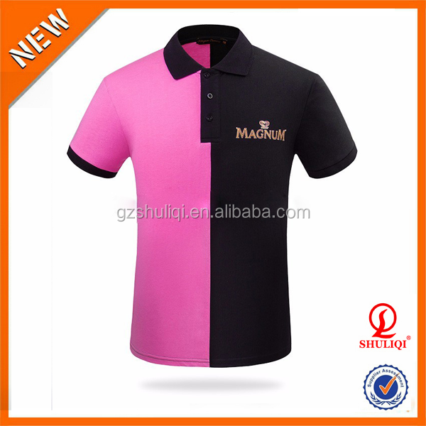 High quality two colors polo shirt 100% cotton /custom men polo shirt embroidered owm logo H-649