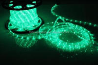 High quality 230V 6m 24leds/m round 2 wire green color decorative small led light rope
