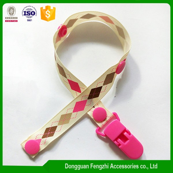 manufacturer custom Eco-friendly printing polyester baby pacifier clip with holder