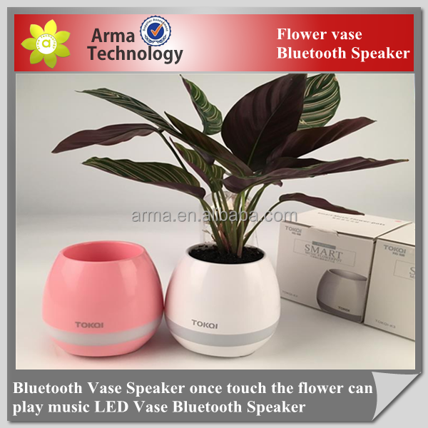 Factory Bluetooth Vase Speaker once touch the flower can play music LED Vase Bluetooth Speaker