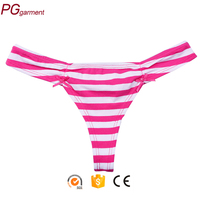 Stock Amazing new design sexy T-back woman low waist cotton G-string girls stripe thongs