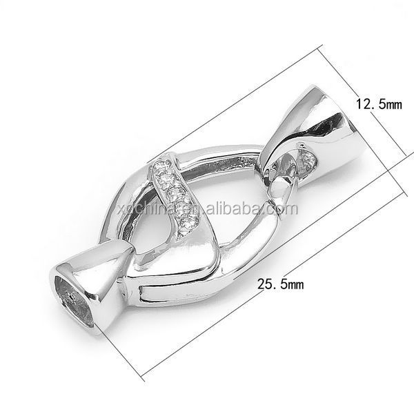 XD S998-99-1003-05 cz micro pave spring lock with end caps jewerly clasp
