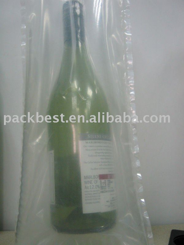 void fill packaging air pouch for singe winebottle
