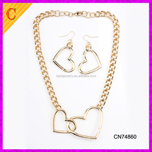 CN74860 16k Gold Plated Womens Necklace Earrings Leisure Jewelry Set Hollow Out Heart Shape Necklace Set