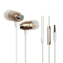 Super bass earphone, good sound quality metal headphones with mic and volume control