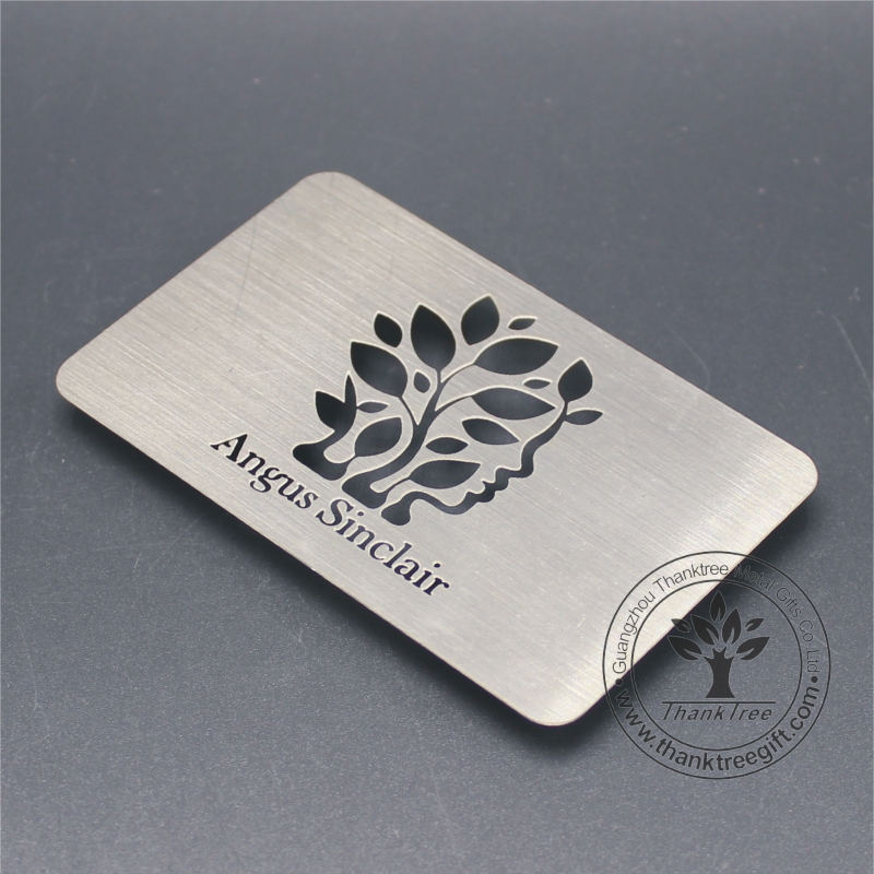 metal etching craft custom logo engraved brushed finish stainless steel business card