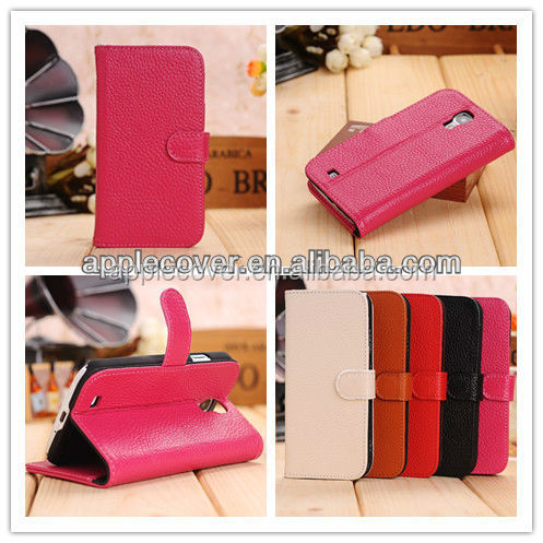 Hot selling Genuine leather wallet cell phone cover case for samsung galaxy s4, for samsung s4 case