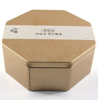 Factory wholesale octagon shape mini mint candy tin box