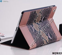 Newest Design Snake Skin Leather Stand Case for iPad 2& iPad 3,Snake Leather Zipper Sleeve Cover Case for iPad 3 Fast Shipping