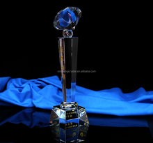 Diamond Crystal Award custom Laser Crystal Trophy For Corporate Gifts