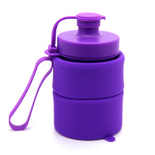 RUBBER Factory Custom Wholesale Silicone Multi-Use collapsible Sport water bottle Travel Bottle High Quality
