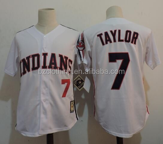 Men's Cleveland Indians Taylor #7 White Cooperstown Collection Baseball Jersey
