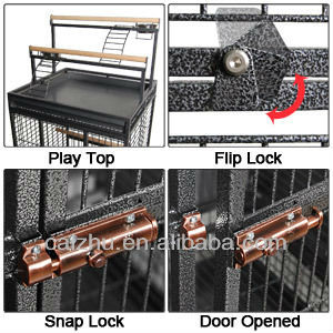 Metal Parrot Cage Bird Finch Cage Cockatiel Parakeet Ladder White/Black Iron House