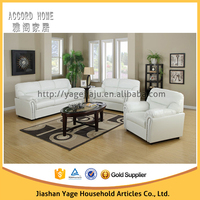 Modern living room classic leather sofa set 3 2 1 sets