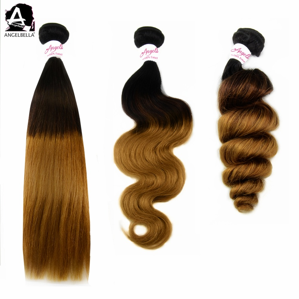 Angelbella Great Quality Virgin Brazilian Hair Extension Ombre Human Hair