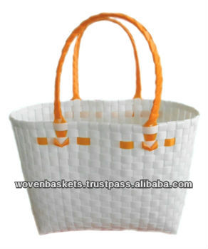 Cheap Woven Baskets Shopping weaving Bag (ATS-F04)with White or Colorful made from Plastic Straps Polypropylene pp