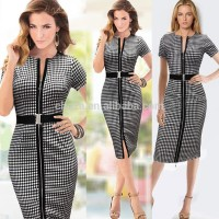 Bestdress C21399B Womens Elegant Zipper Front Belted Wear to Work Business Casual Office Lady OL Career Party Stretch Bodycon Dr