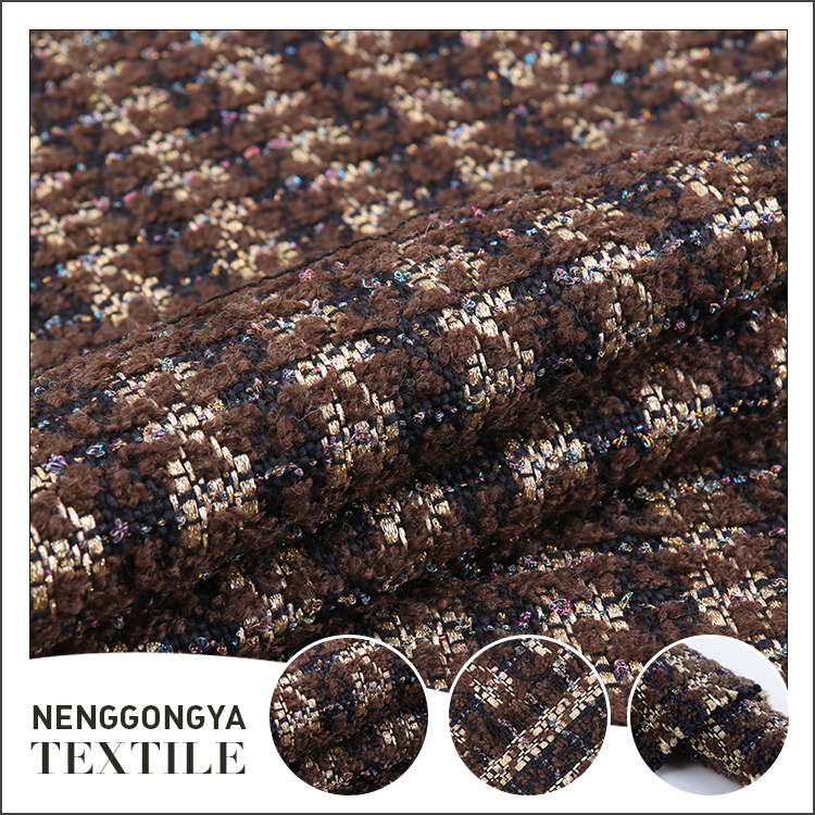Custom design low price warm brown yarn dyed chenille fabric