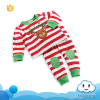 2016 Alibaba bulk sale baby christmas baby wear suit infants christmas clothing fall stripe deer clothes set