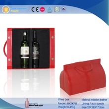 Red PU for 2 bottle packaging wine carrier