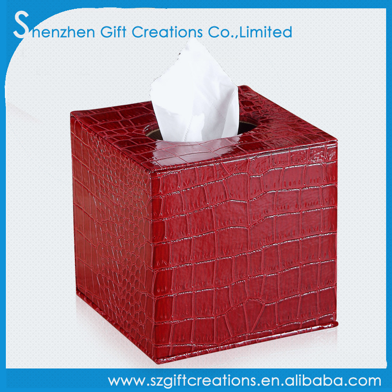 Customize crocodile leather home deco napkin paper box red tissue box holder