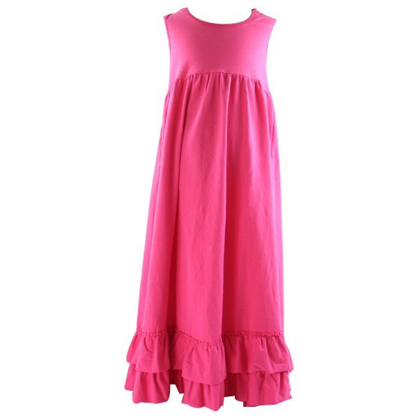 2015 hot sale wholesale children's boutique cloth mommy and me maxi ruffle solid dress