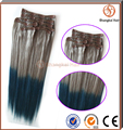"20"" 7A wholesale Brazilian colored clip-in hair extensions black woman wholesale"