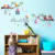 cartoon birds flower tree house wall stickers for bedroom kids room wallpaper diy home adesivo de parede