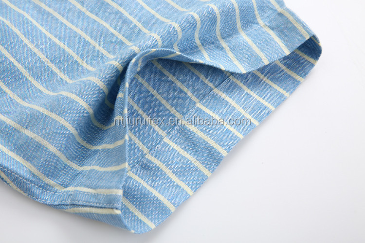 Men's casual 55%linen 45%cotton yarn dyed stripes short sleeve shirts