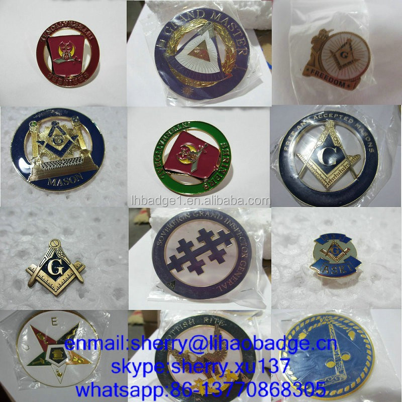 Plated Technique and Badge & Emblem Product Type masonic car badges emblems