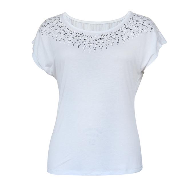 Excellent Quality New Design Custom Short Sleeve White Women Short T-shirt