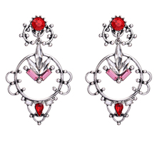 Fashionable mumbai jewelry red crystal vintage silver pendant earrings new design 2017