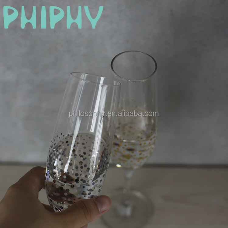 Customize wedding favour champagnes wine <strong>glass</strong> with gold spot stars luxury glasssware supplie