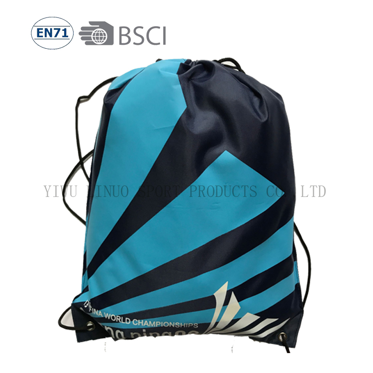 Promotional customer logo print polyester draw string knapsack <strong>bag</strong>