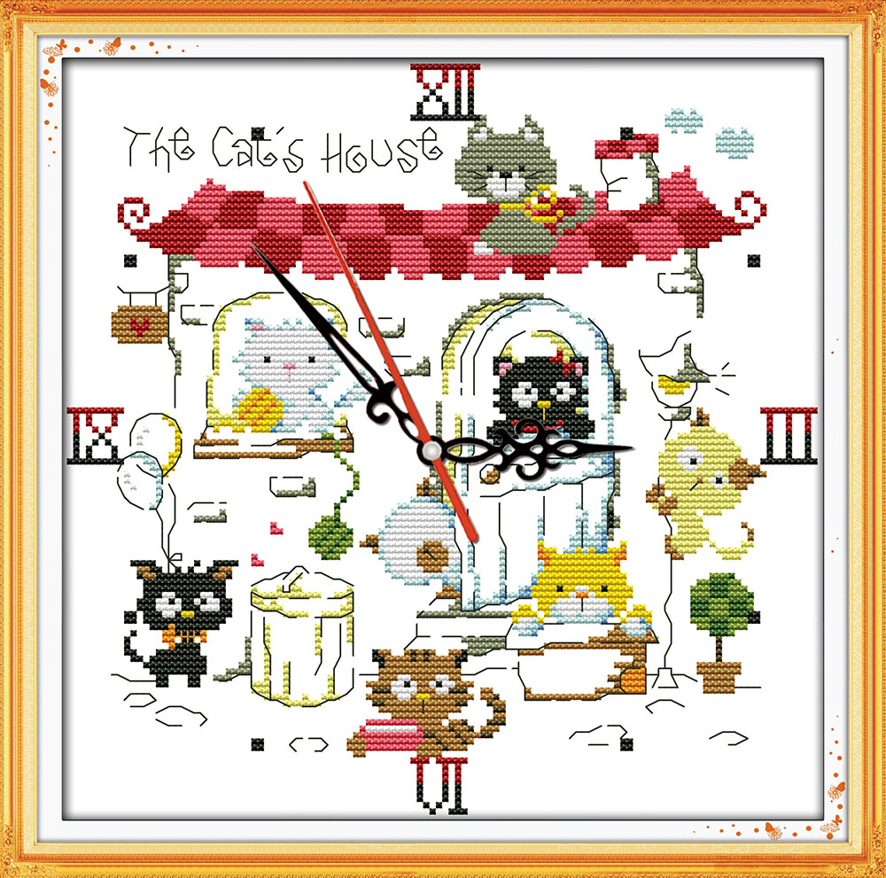 DIY Handmade Needlework Counted Cross Stitch Kits Embroidery Set 14CT The cat's clock Pattern Cross-Stitching