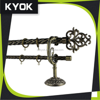 Antique design curtain rod/tube/finial/bracket/ring,America hot sale curtain pole whole set,favorable quality and price