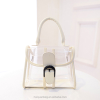 Fashion Lady Transparent Handbag PU Leather