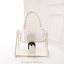 Fashion lady transparent handbag PU leather mini tote bag for sale