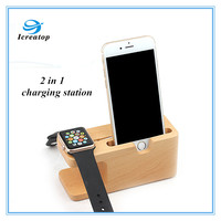 2 in 1 Natural wooden stand ,phone holder ,charge docking station for smart watch and cell phone