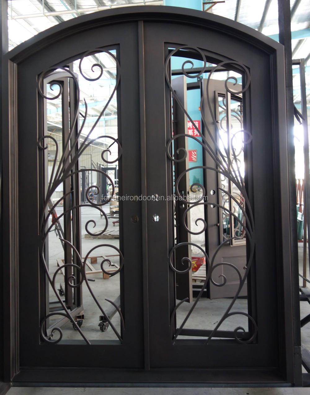 Full Glass Door With Eyebow Top Double Wrought Iron Door Widely Used