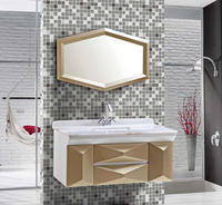 Wholesale pvc wall mounted space saver fancy bathroom vanities with mirror
