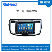 For Honda accord 9 Car DVD GPS Android Google play Radio MP3 MP5 Wifi 3G DVR OBD Mirror Link PIP SD USB Bluetooth 1080P