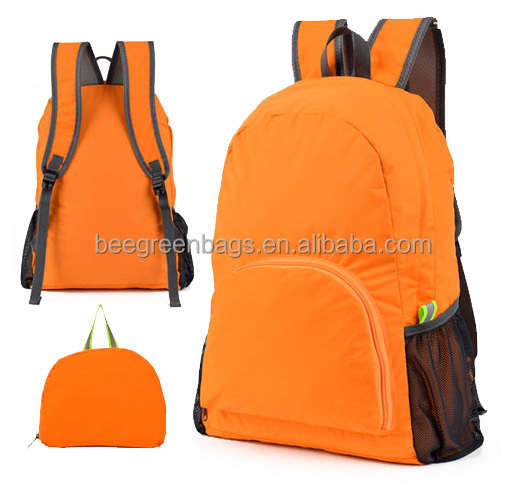 210D polyester China wholesale foldable backpack with custom designs