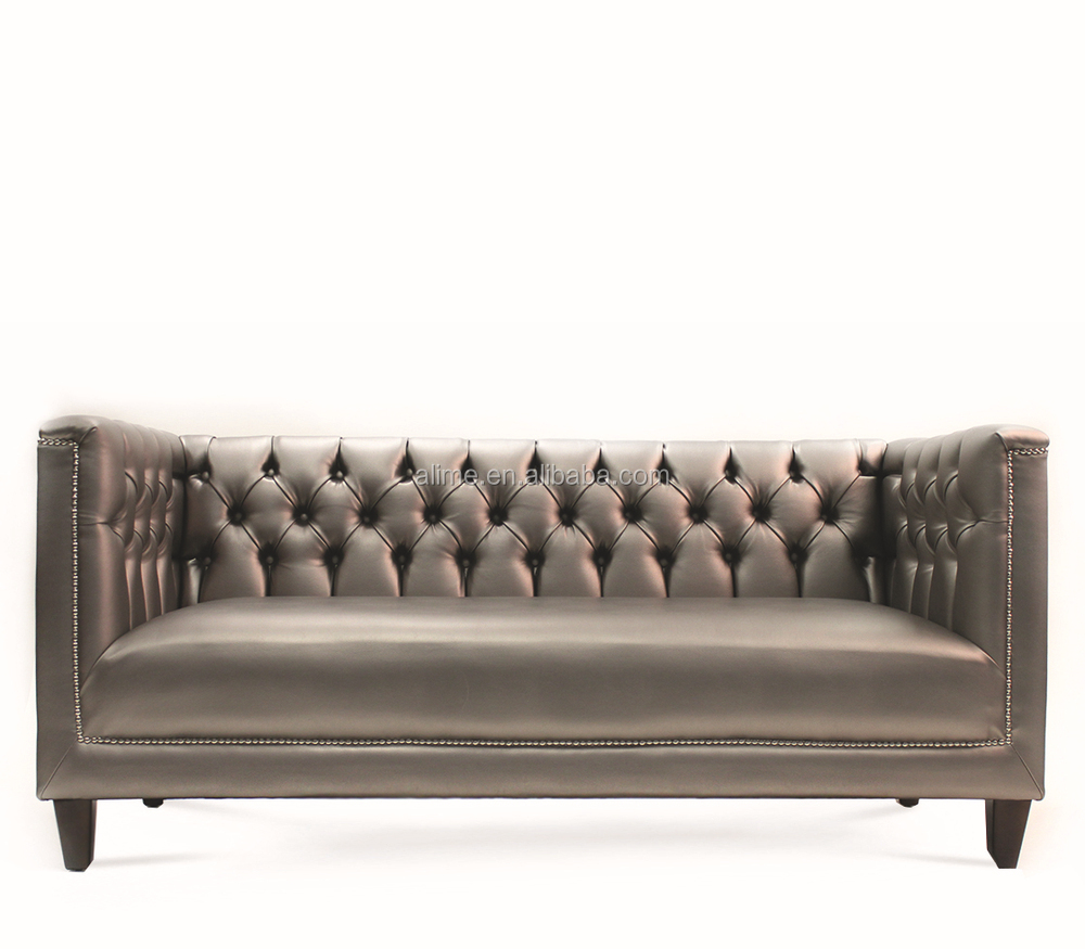 Alime Hotel Lobby Furniture Sliver Leather 3 Seater Sofa